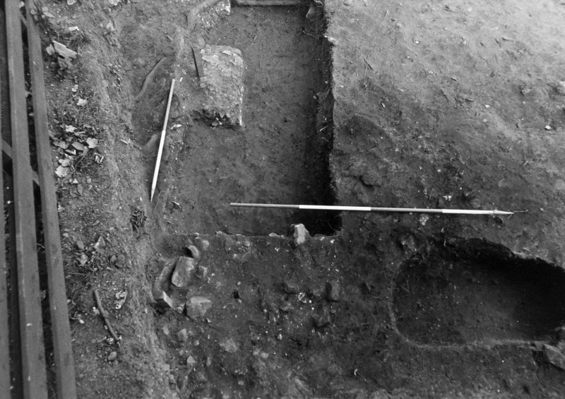 Excavation photograph : trench 5, burnt stone and clay, from S.