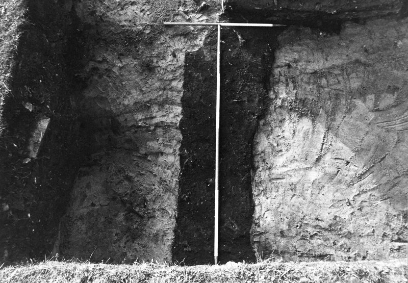 Excavation photograph : black linear feature in NW extension of trench, from N.