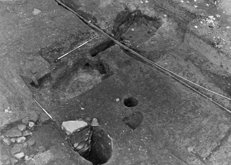 Excavation photograph : sub aerial shot of pits f301, 165, and 362, from SE.