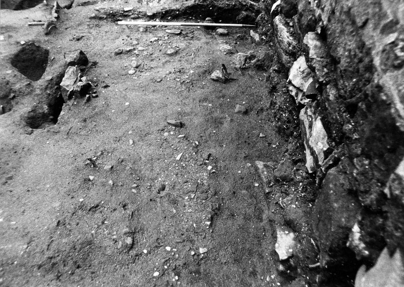Excavation photograph : E end of metalling f507, from W.