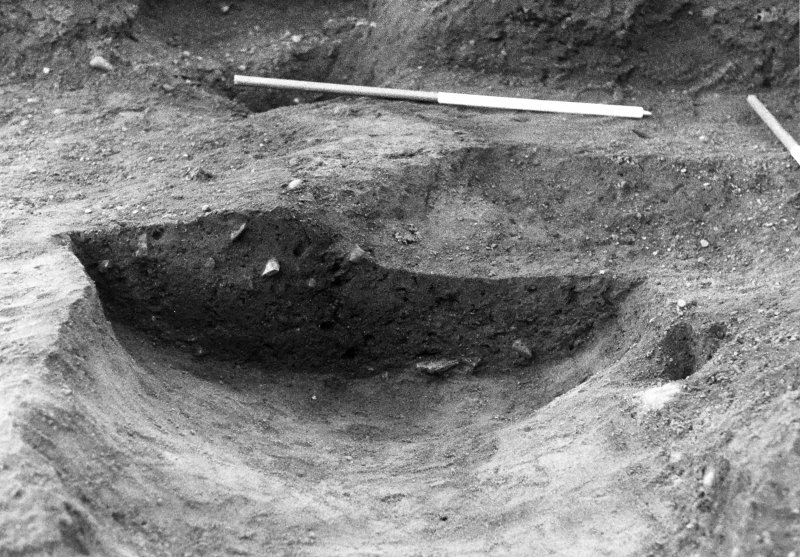 Excavation photograph : close up of section across feature f911, from W.