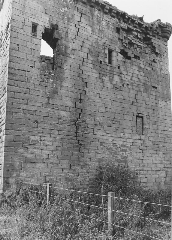Excavation archive: Sauchie Tower, from E - close up.
