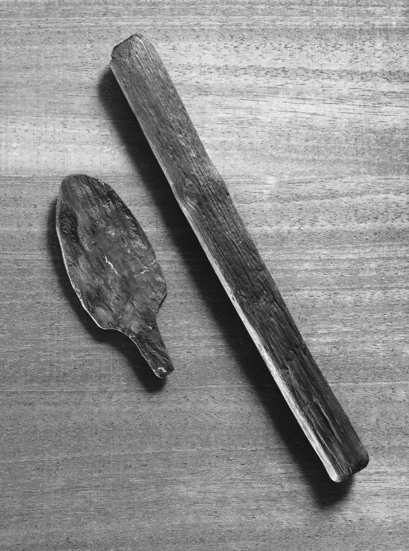 Wooden objects from crannog excavations.