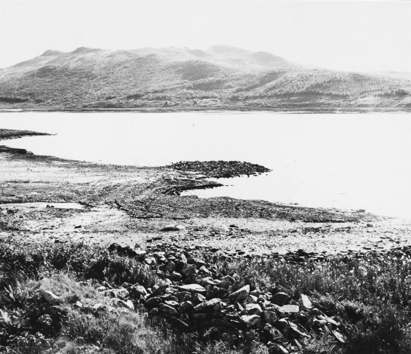 Excavation photograph : view of crannog from north before excavation.  (large mounted copy print stored with MS/456)