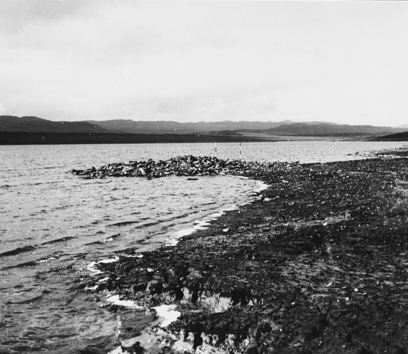 Excavation photograph : view of crannog from south before excavation.  (large mounted copy print stored with MS/456)