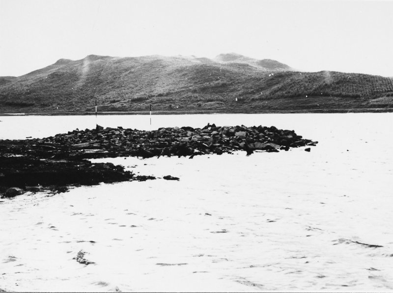Excavation photograph : crannog from east.  (large mounted copy print stored with MS/456)