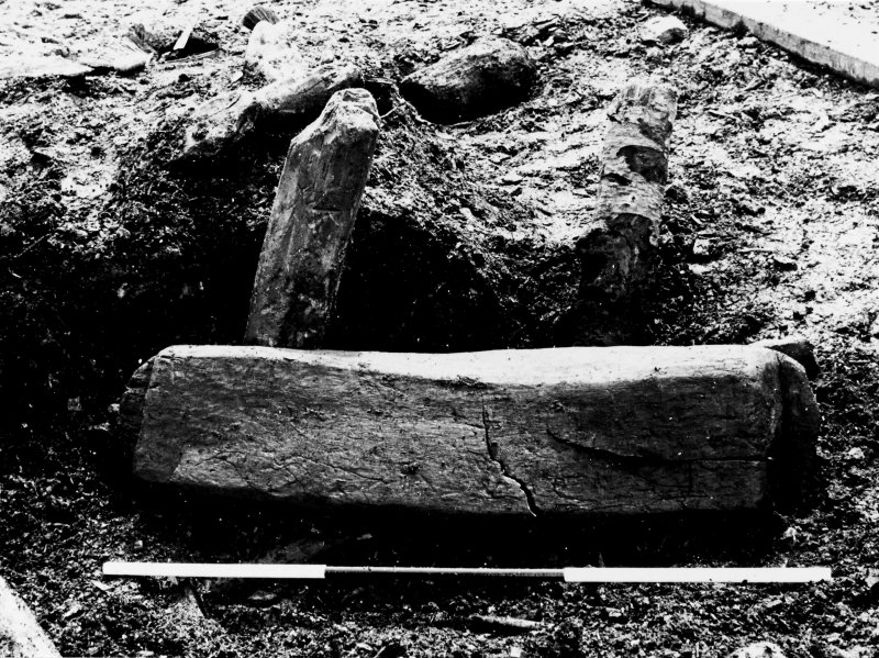 Excavation photograph : large wooden bowl, as found buried in brushwood foundation layer. (large mounted copy print stored with MS/456)