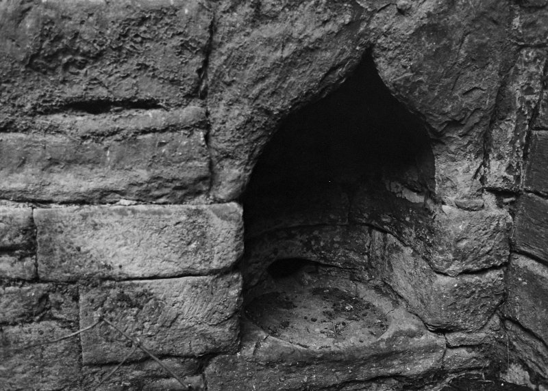 Excavation archive: Close-up of niche in E end of N wall.