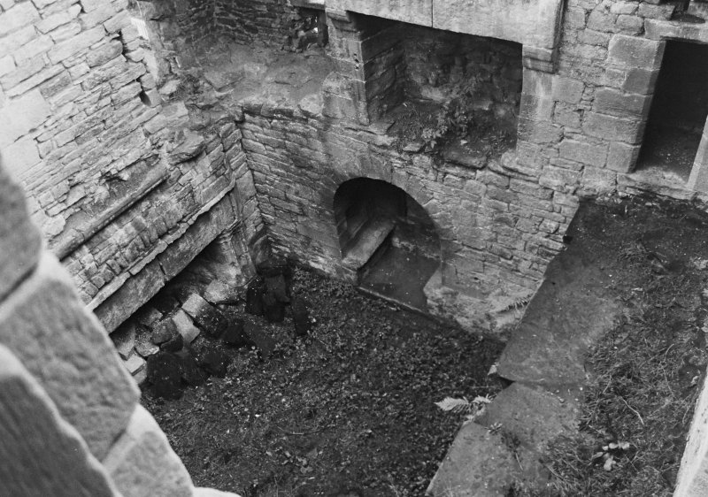 Excavation archive: Interior of tower prior to clearance of debris from first floor hall. From NW.