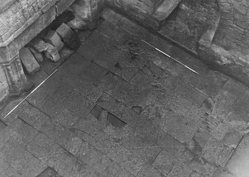 Excavation archive: Close-up of SE corner of floor of hall. From NW.
