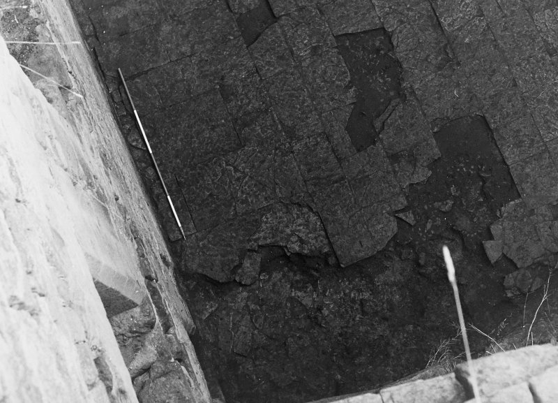 Excavation archive: Close-up of NW corner of floor of hall. Fronm NW.