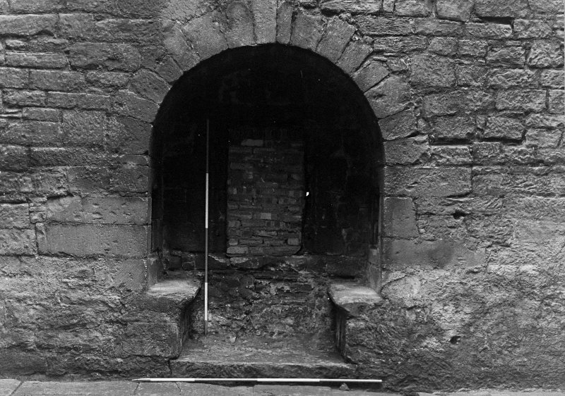 Excavation archive: Window embrasure at E end of S wall of hall. From N.