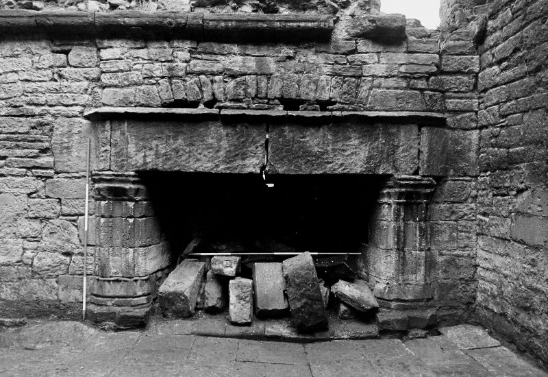 Excavation archive: Hall fireplace. From W.