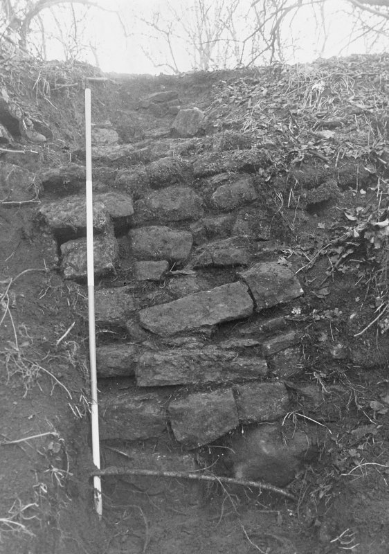 Excavation archive: Close-up of exposed section of retaining wall set against S side of ravine, from N
