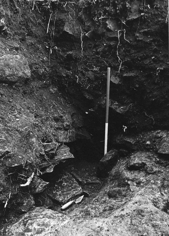Excavation archive: Close-up of NW corner of Trench A, showing remnants of stone-sided drain. From SE.