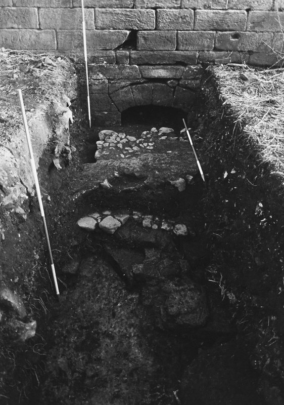Excavation archive: Trench A, showing remnants of both cobbled surfaces, truncated by recent intrusion. From N.