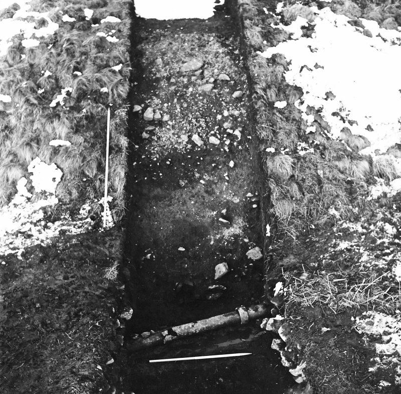 Roberton, motte: excavation photograph of fully excavated ditch from S C Tabraham, 1979