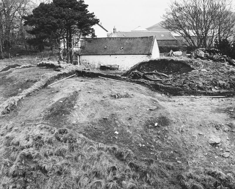 Roberton, motte: excavation photograph of SE sector after removal of topsoil C Tabraham, 1979