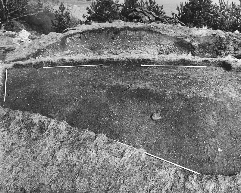 Roberton, motte: excavation photograph of NE sector after removal of topsoil C Tabraham, 1979