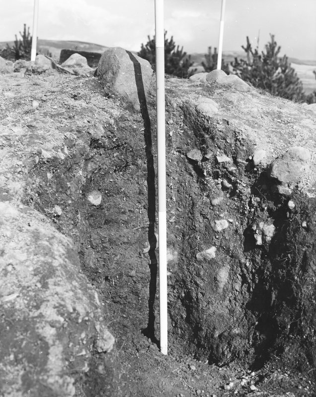 Roberton, motte: excavation photograph of post hole C Tabraham, 1979