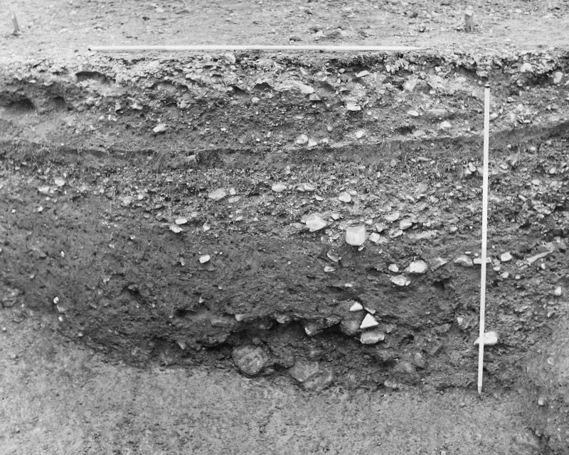 Excavation photograph - ditch, counterscarp on right.