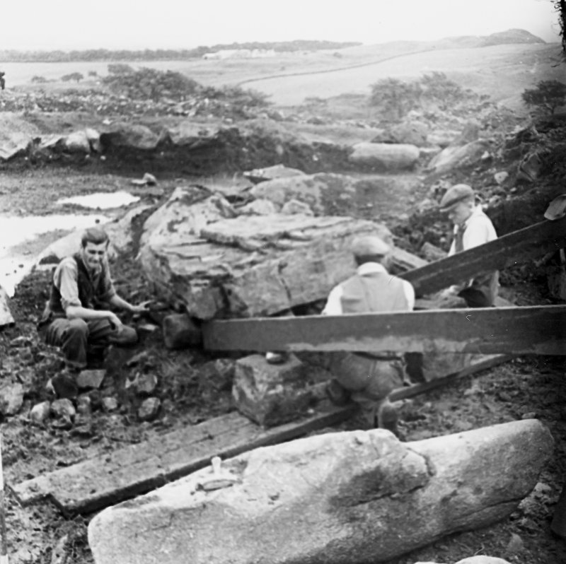 Excavation Photographs by Prof. S. Piggott - showing the removal of capstone of Cist B.