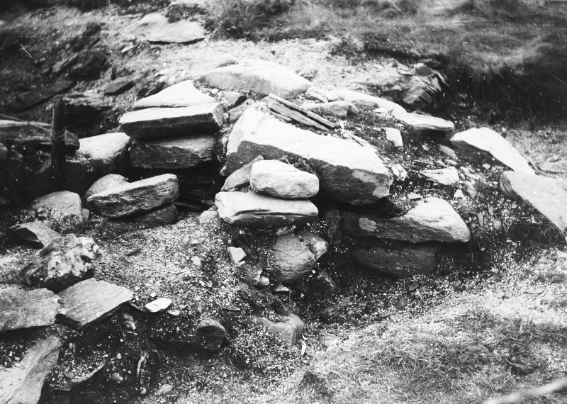 Photograph taken during excavation, possibly of boundary wall.
