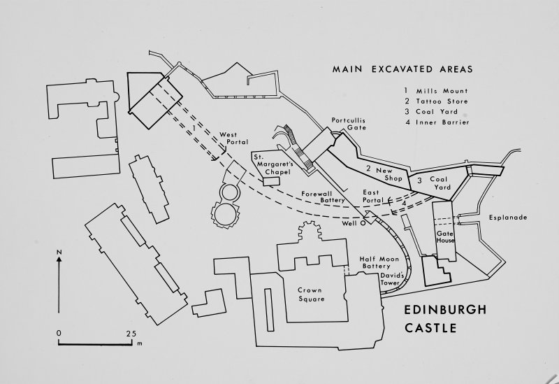Print of plan of main excavation areas.