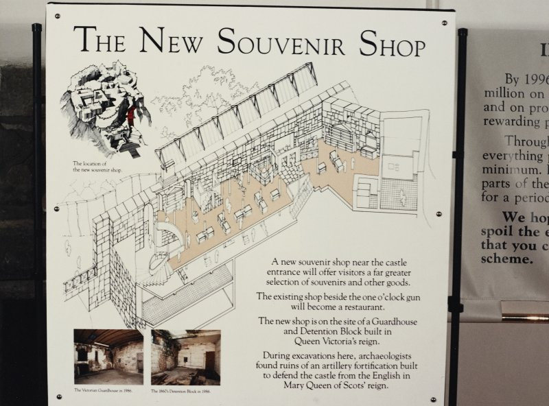 Exhibition board from excavations - the new souvenir shop.