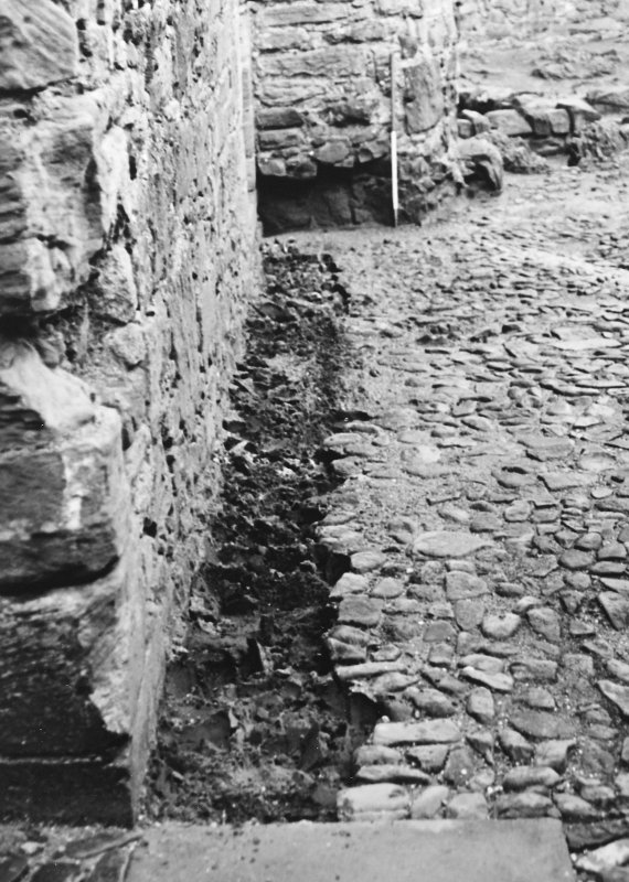 Excavation photograph : trench 1 after removal of cobbles, from S.