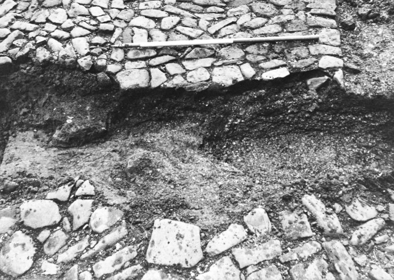 Excavation photograph : trench 2 showing close up of boulders and clay, from W.