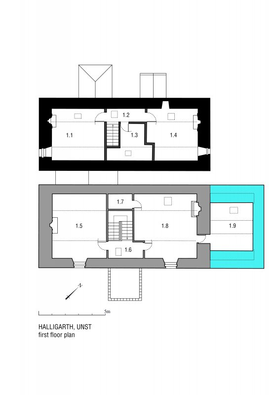 Halligarth House: Phased first floor plan