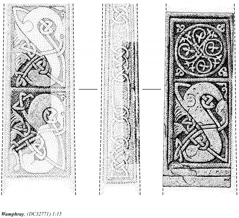 Details of Wamphray incised cross: publication drawing for Inventory of Eastern Dumfriesshire.