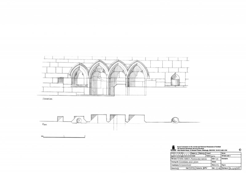 Fearn Abbey, Piscina and Sedilia: Elevation and plan