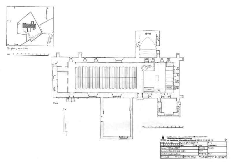 Fearn Abbey: Plan scale 1:100 and site plan scale 1:1000