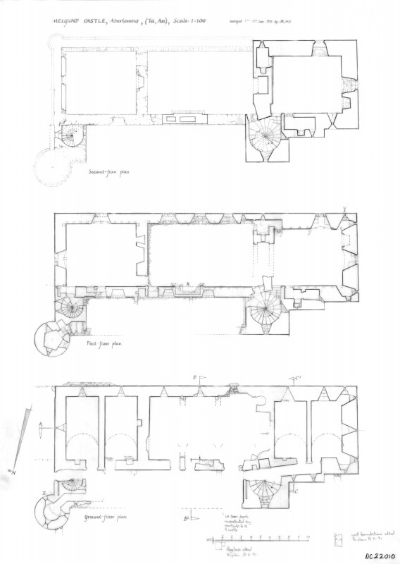 Melgund Castle: Ground floor, first floor and second floor plans