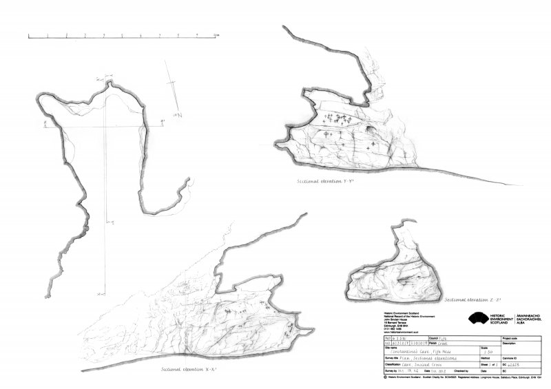 Constantine's Cave: plan and sectional elevations X-X1, Y-Y1 and Z-Z1