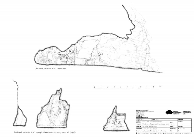 Caiplie Caves: sectional elevation A-A1 through the Chapel Cave, and sectional elevation B-B1 through the Chapel and Mortuary Caves