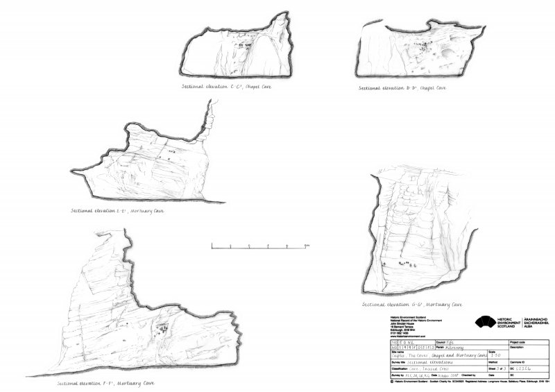Caiplie Caves: sectional elevations C-C1 and D-D1 through the Chapel Cave, and sectional elevations E-E1, F-F1 and G-G1 through the Mortuary Cave