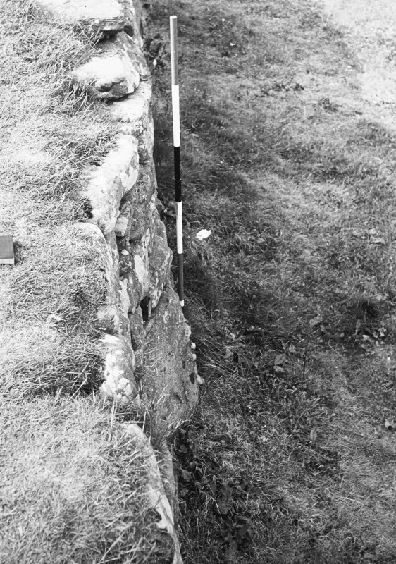 Outer face of outer wall,SE sector showing 'bend'