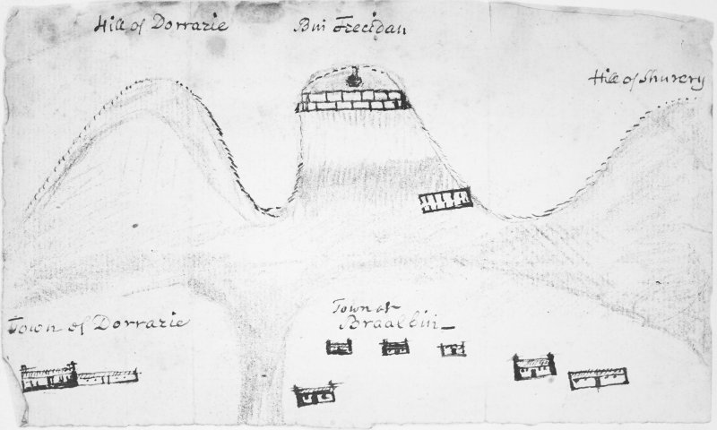 Early 18th century drawing of 'Buiale Oscar' fort and surrounding area.