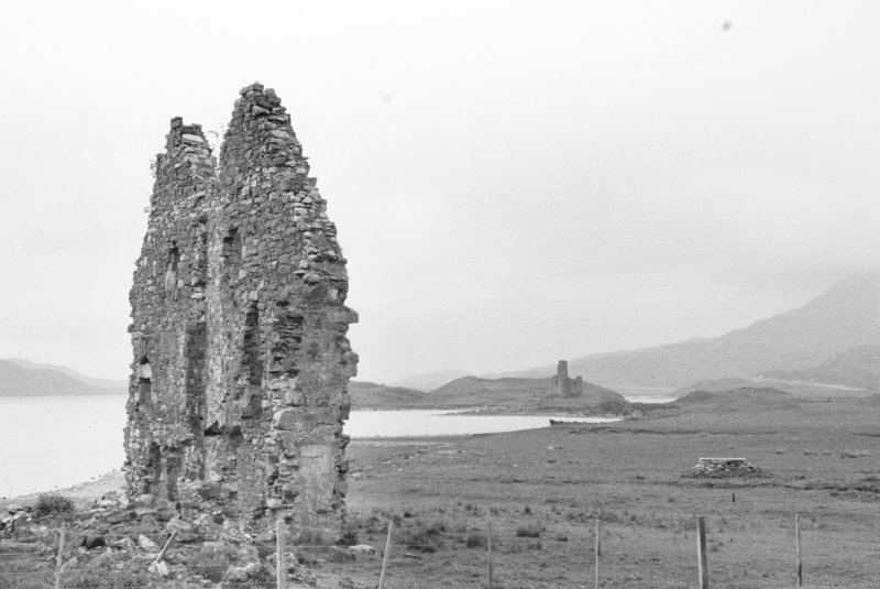 View of North wall, Calda House with Ardvreck Castle in the distance