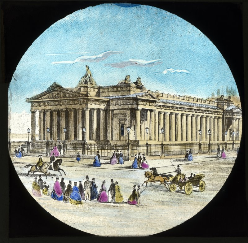 Photographic copy of drawing showing general view of the Royal Scottish Academy from Princes Street, Edinburgh.