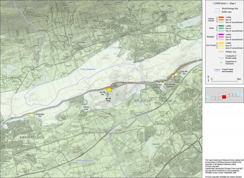 Map 5 of 8 from IV.I 1-8 - Series 1: Maps of the Antonine Wall at a scale of 1:25000 showing the proposed World Heritage Site, known forts and fortlets, camps, other features and the buffer zones. Maps were prepared for the nomination document to propose the extension of the Frontiers of the Roman Empire World Heritage Site through the addition of the Antonine Wall.