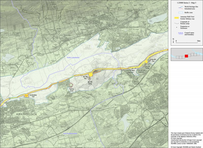 Map 5 of 8 from IV.2 1-8 - Series 2: Maps of the Antonine Wall at a scale of 1:25000 showing the proposed World Heritage Site, known forts and fortlets, camps, other features and the buffer zones. Maps were prepared for the nomination document to propose the extension of the Frontiers of the Roman Empire World Heritage Site through the addition of the Antonine Wall.