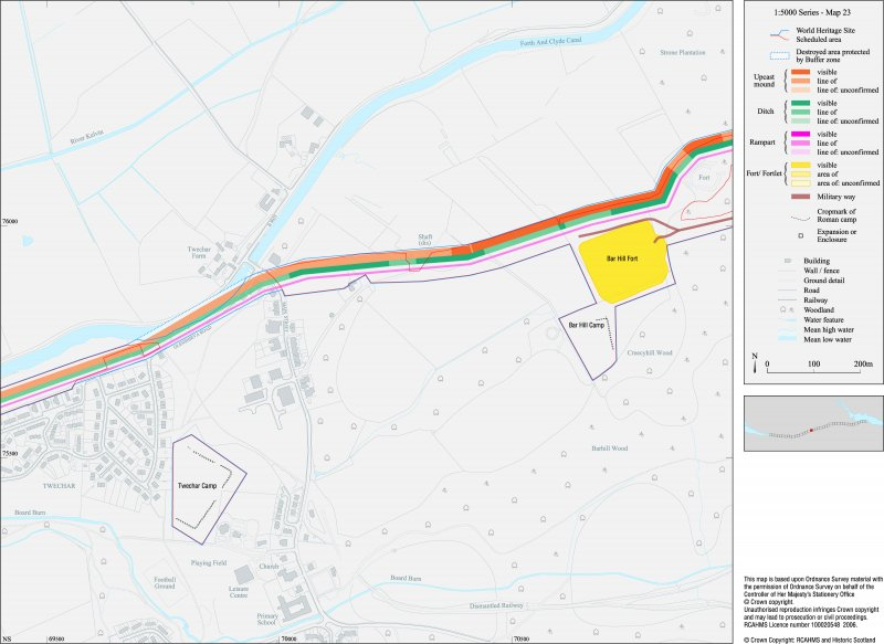 Map 23 of 39 from Series V. Maps of the Antonine Wall and its known features at a scale of 1:5000 showing the scheduled areas and the proposed World Heritage Site. Maps were prepared for the nomination document to propose the extension of the Frontiers of the Roman Empire World Heritage Site through the addition of the Antonine Wall.