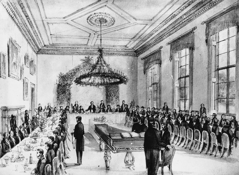 Photographic copy of engraving showing interior view of the dining room.