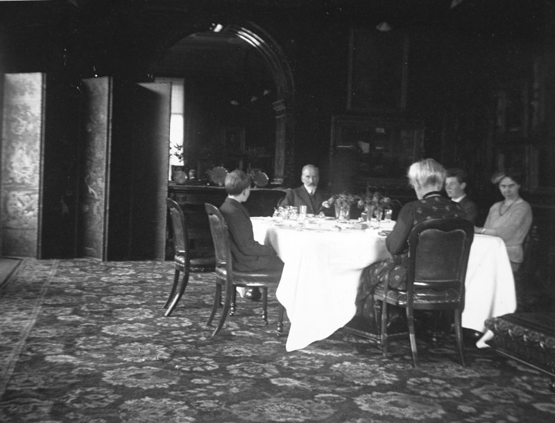 Copy of historic photograph showing interior view of the dining room.