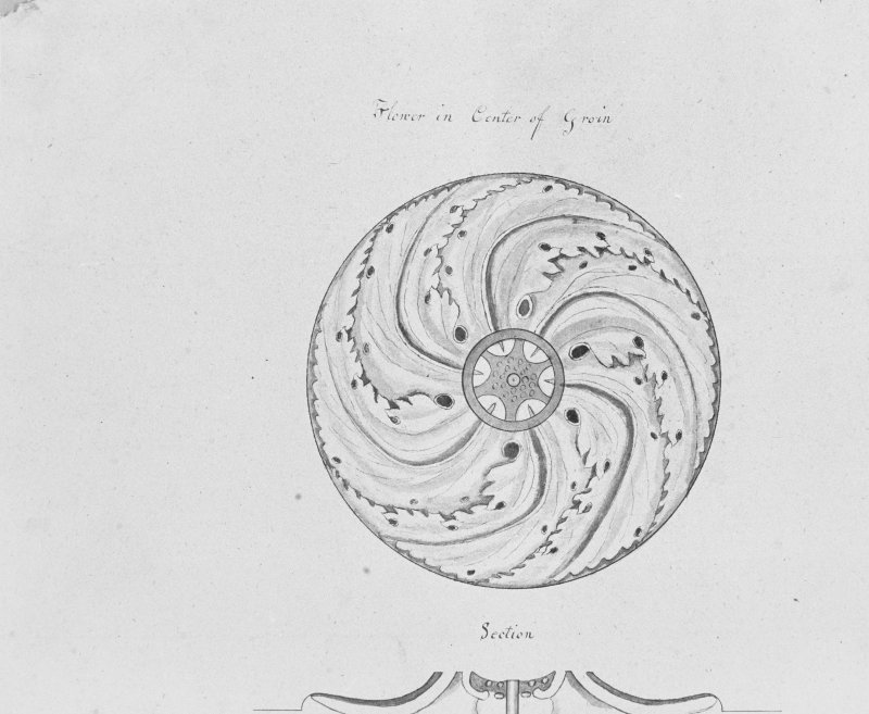 Photographic copy of drawing showing ceiling rose.