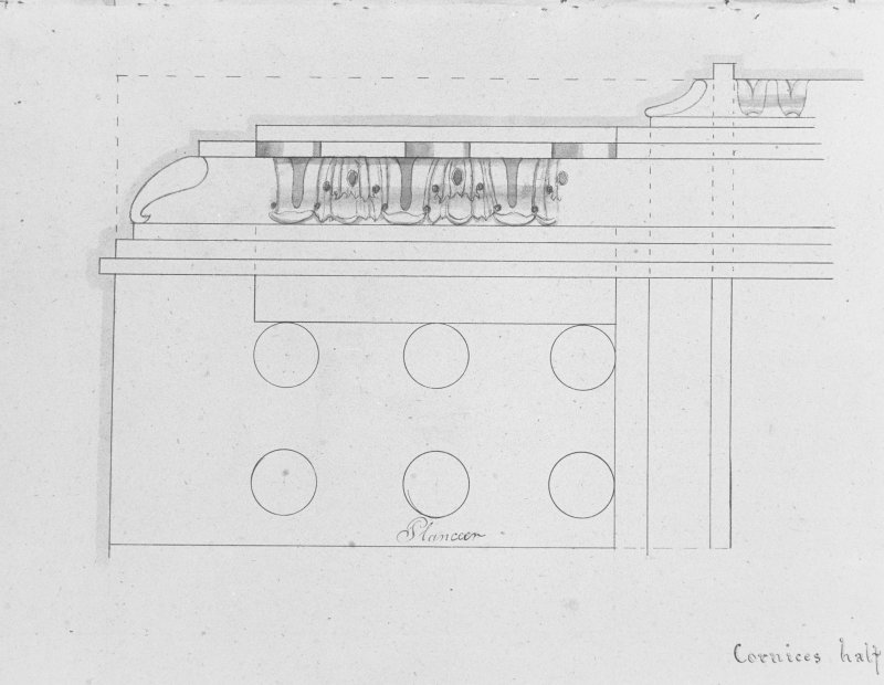 Photographic copy of drawing showing detail of cornices.